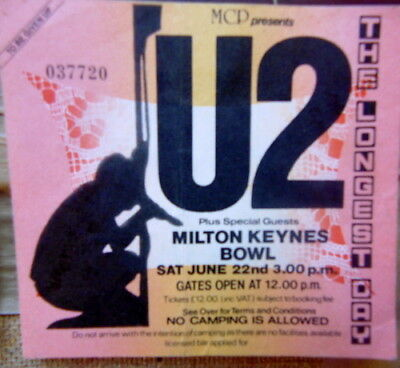 U2 ticket stub (1980s) - Milton Keynes Bowl Longest Day