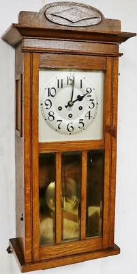 Stunning Westminster Chime Musical Wall Clock German 8 Day Antique Mahogany
