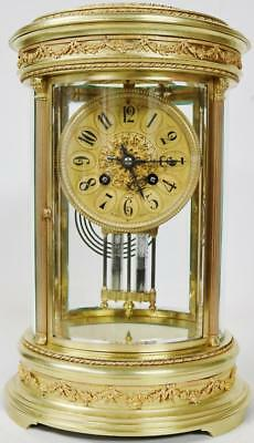 Antique French Regulator Mantel Clock Striking 8 Day Ormolu 4 Glass Band Stand