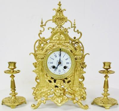 Antique French Ormolu Mantel Clock Garniature Set Carved Case 8 day Striking