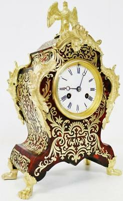 Antique French Boulle Mantel Clock Rococo Red Shell Inlaid Ormolu 8 Day Striking