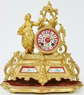 Antique French Red Sevres Porcelain Mantel Clock Figural Striking Gilt Spelter