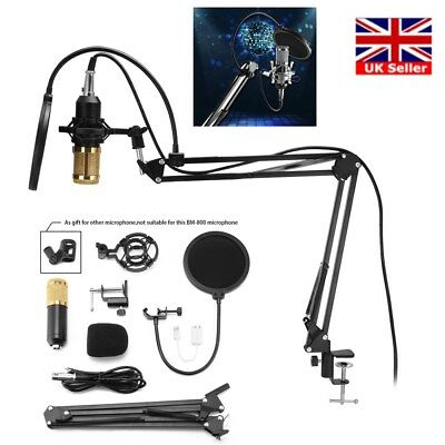 BM800 Audio Vocal Studio Mic Condenser Microphone Arm Stand Pop Filter Free Post