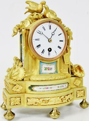 Antique French Ormolu Bronze Mantel Clock Blue Painted Sevres 8 Day Mantle Clock