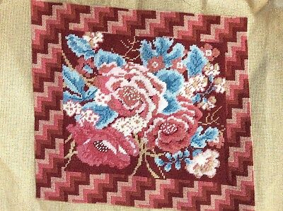 Vintage Needlepoint Completed Tapestry needlepoint cushion PANEL Roses pink blue