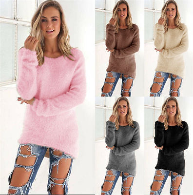 Womens Fluffy Sweater Jumper Ladies Casual Long Sleeve Warm Pullover Tops Blouse