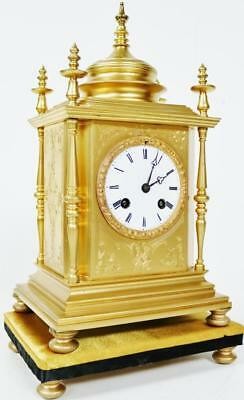 Fine Antique French Ormolu Cubed Bronze 8 day Bell Striking Mantel Clock - C1870