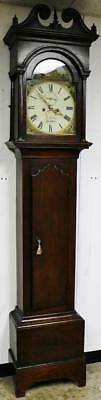 Antique C1850 8 Day Mahogany & Automaton Painted Dial Longcase Grandfather Clock