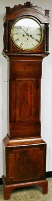 Antique English Regency 8 Day Mahogany Circular Dial Grandfather Longcase Clock