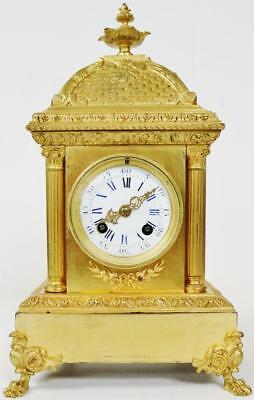 Antique French Cubed Bronze 8 day Mantel Clock - C1880 Gong Striking S.Marti