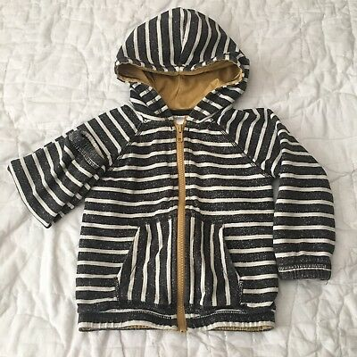 Hanna Andersson Unisex Gray White Mustard Yellow Striped Hoodie Size 90 (3)