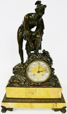 Huge Period Empire French Solid Bronze Mantel Clock C1830 God Figure On Marble