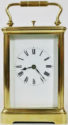 French Repeat Carriage Clock Architectural Gong Striking Repeating Mantel Clock