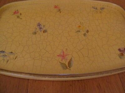 SERVING TRAY, YELLOW WITH PAINTED FLOWERS, MEDIUM SIZED, VINTAGE or ANTIQUE
