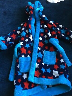 Boys Blue And Red Star Dressing Gown Robe Size 12-18 Months