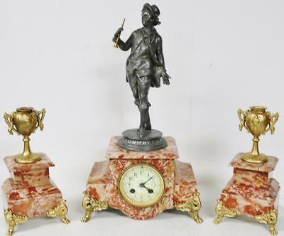 Antique French 8 Day Striking Gilt & Marble Figural 3 Piece Garniature Clock Set