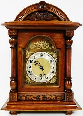 Antique German 8 Day Musical Westminster Chime Bracket Clock In Carved Case 1900