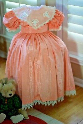 Vintage Bonnie Jean Peach moire Organdy Collar Girl  Dress