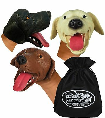 Schylling Dogs Stretchy Hand Puppets Brown, Beige & Black Gift Set 3 Pack w/Bag