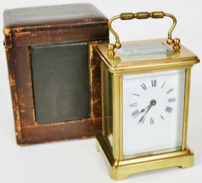 Antique French Bronze Carriage Clock 8 Day Mantel Platform Balance & Case C1880