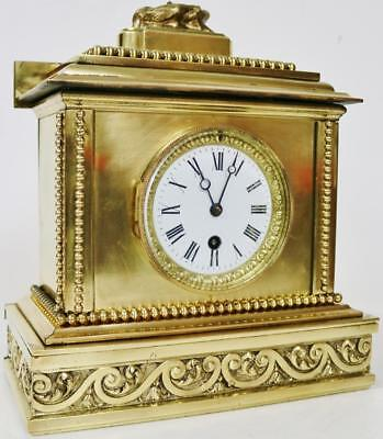 Fine Antique French Ormolu Bronze 8 day Cubed Working Mantel Clock - C1870