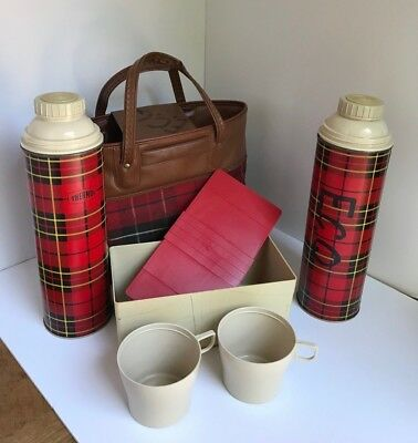Vintage Red Plaid Thermos, 1964 King Seeley, All Original, 6 Piece Set, Picnic