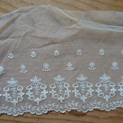 X22 - Antique Embroidered Wide Lace Length - Over 4.5 Yards - Dentelle Ancienne