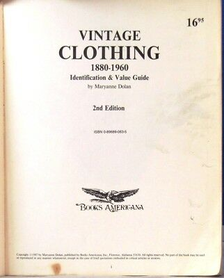 VINTAGE CLOTHING 1880 TO 1960 Fully Illustrated Identification & Value Guide