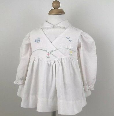 VIntage Pinafore Jumper Dress Collared Top Outfit Set 18 Months Embroidered