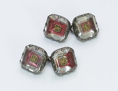 Antique Georgian 18th Century Silver Gold Wire Crystal Cufflinks