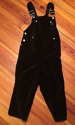 Old Navy Girls Size 4/5 Black Suede Overalls VGUC Vintage
