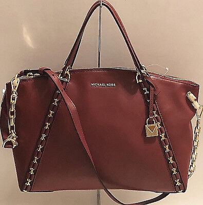 e5d39ecdaaab Nwt Michael Kors Sadie Large Tz Leather Satchel Mulberry 30F7Gaes3L Msrp  $398.00