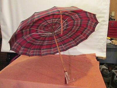Vintage Umbrella with Bakelite/Lucite + wood handle Red Plaid parasol