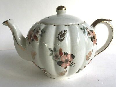 Vintage Gibsons Staffordhire England Floral and Gold Teapot, proabably 1950's