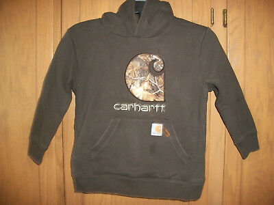 Carhartt Pullover Hoodie Brown Camo Logo Fleece Long Sleeve Youth Small (8-10)