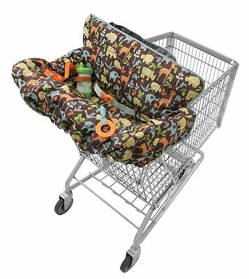 Infantino Compact 2-in-1 Shopping Cart Cover Animal Print Sippy Cup Tether EUC