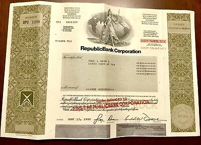 1988 RepublicBank Corporation Stock Certificate 100 Shares