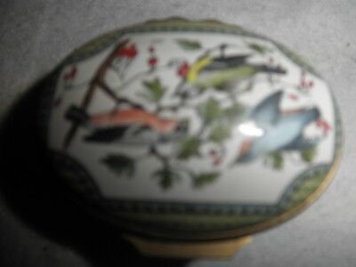 HALCYON DAYS ENAMEL HINGED TRINKET BOX - Birds on Branches