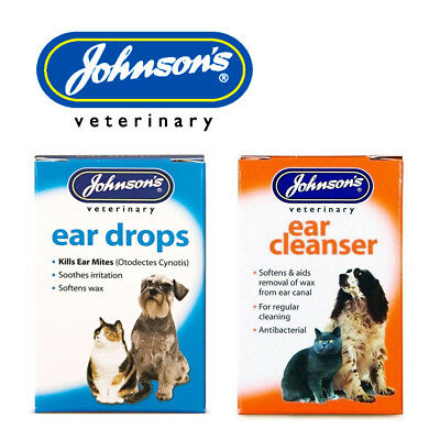Johnsons Ear Drops or Cleanser for Cats and Dogs Kill Ear Mites Wax Softener