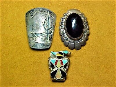 Lot of 3 Vintage Native American Silver Bolo Ties