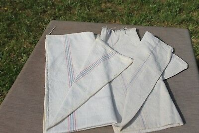 "Vintage Antique Lot of Two RED & BLUE STRIPE Heavy FEED SACKS Hemp?  18"" X 40"""