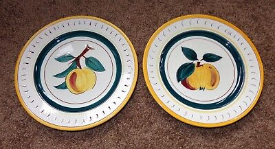 2 Old Vintage Stangl Pottery Fruit Plates Peach Yellow Apple Trenton New Jersey