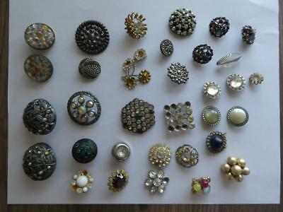 Lot of Vintage & Antique Sewing Buttons - Rhinestone's and Stones