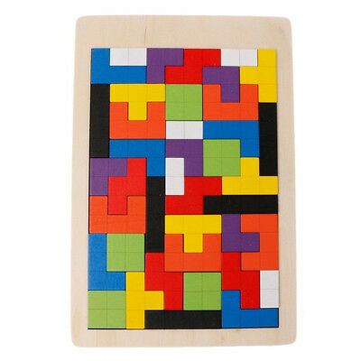 Colorful Puzzle Jigsaw Tetris Wooden Brain Teaser Game Children Play Wood Toy