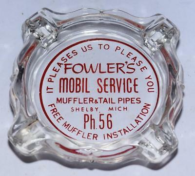 Vtg. Mobil Service Glass Ashtray - Fowlers Mobile (Shelby, MI) - Mufflers