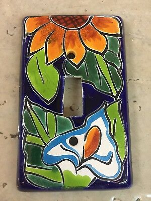 Talavera Mexican Pottery wall plate light switch single toggle cover multi color