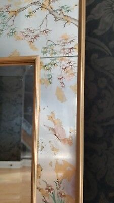 LABARGE Chinoiserie Reverse Painted Decorative Wall Mirror 38 1/2 W X 48 1/2 H
