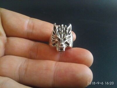 COLLECTIBLE old Tibetan silver hand made Chinese wolf head statue finger ring RR