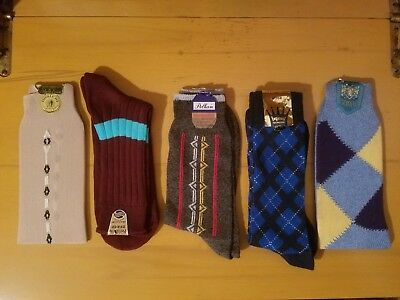 5 NOS Vintage Mens Sock Lot 10-13