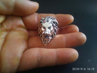 COLLECTIBLE old Tibetan silver hand made Chinese Lion head statue finger ring RN